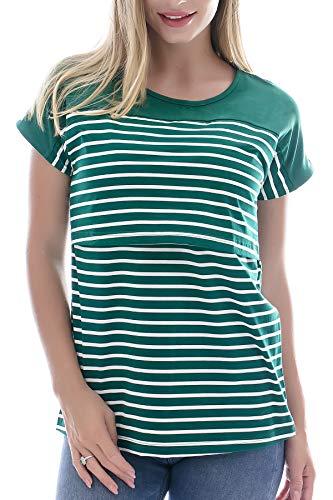 Smallshow Stillshirt Kurzarm Umstands Tshirt Umstandstop Umstandsmode Stilltop Baumwolle Schwangerschaft Streifen Shirt, Dunkelgrün, M