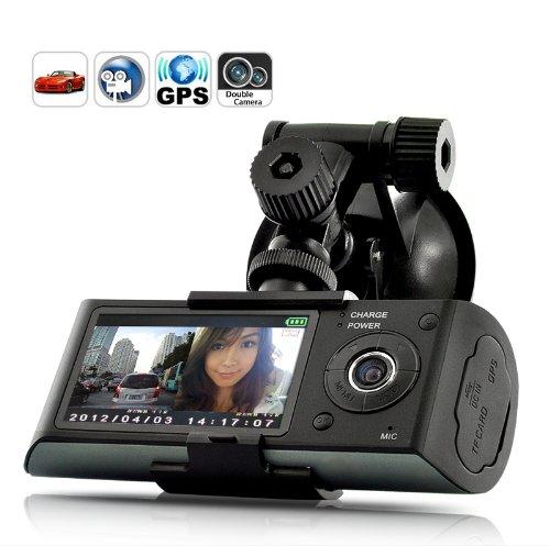 BW 2.7-inch TFT Double caméra DVR GPS Logger G-Sensor Vehicle Synchronous Recorder-Nouvelle Version