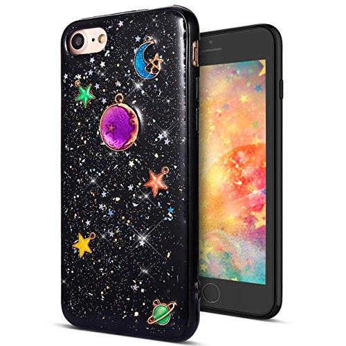 Funda Compatible Iphone 7/8,KunyFond Carcasa Glitter Fondo Negro Planeta Lunar Case Metal...