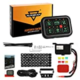 Auxbeam 6 Gang Switch Panel Automatic Dimmable LED On-Off Car Switch Panel Electronic Relay System Circuit Control Box LED Touch Switch Box Universal for Truck ATV UTV Boat Marine SUV Car-Green Light