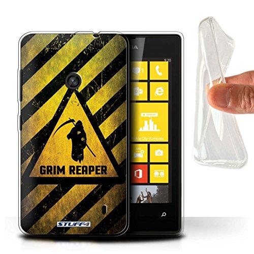 Custodia/Cover Gel/TPU/Prottetiva STUFF4 stampata con il disegno Segnali di avvertimento di pericolo per Nokia Lumia 520 - Morte/reaper
