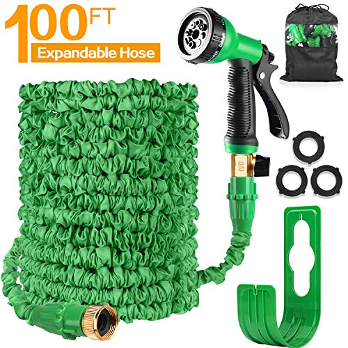 No Kink Water Hose Flexible Stretch Water Pipe for Home Lawn Car with Professional Water Spray Nozzle 25ft//50ft//70ft//100ft Green,25ft Length, 7.5m Injection Magic Expandable Garden Hose