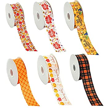 Pumkryth Fall Ribbon 12 Yards 2.5cm/1 inch Gift Wrapping Ribbon Thanksgiving Day Thin Ribbon Grosgrain Satin Ribbons for Autumn Home Decor Wrapping DIY Crafts