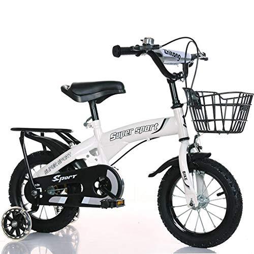 FYLY-Bicicleta Infantil para Niños y Niñas, 18'Ergonómico Acero Carbono Frenos de Doble Disco Bicicleta con Ruedines de Entrenamiento Desmontables, para Niños de 7-9 Años,Blanco
