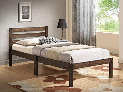 Twin Platform Bed Frame with Headboard, Rustic Farmhouse Wooden Platform Bed Mattress Foundation with 12 Wood Slats and Low Profile Footboard, No Box Spring Needed (Brown)