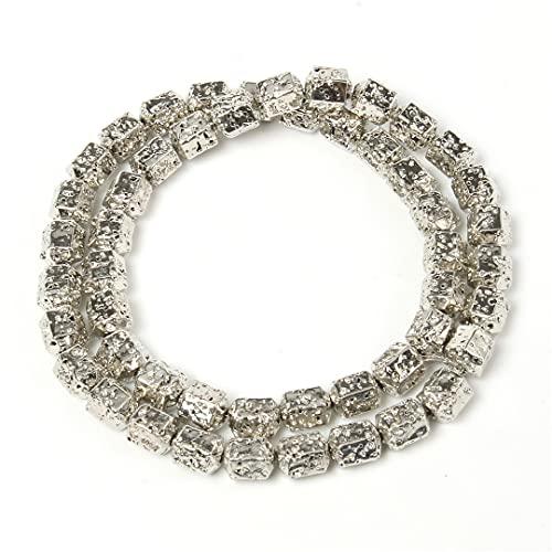 Rodio chapado en oro y plata de lava natural piedra espaciador de cilindro perlas para hacer joyas DIY pulseras hechas a mano 15 pulgadas 8 7 mm oro blanco 8 x 7 mm alrededor de 46 piezas