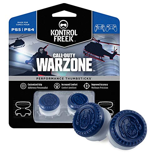 KontrolFreek Call of Duty: Warzone Performance Thumbsticks for PlayStation 4 (PS4) and PlayStation 5 (PS5) | 2 High-Rise, Hybrid| Blue/Gray