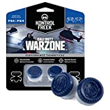 KontrolFreek Call of Duty: Warzone Performance Thumbsticks for PlayStation 4 | 2 High-Rise, Hybrid| Blue/Gray