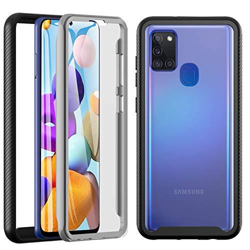 OWKEY Outdoor Hülle für Samsung Galaxy A21s Handyhülle [Schutz nach Militärstandard] [Stoßfest] [Kratzfest] Bumper Hülle 360 Grad R&umschutz Schutzhülle Cover mit Integriertem Bildschirmschutz