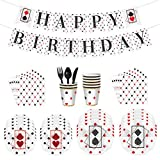 Kicpot Poker Birthday Party Decorations, Casino Night Poker Game Party Supplies Tableware Set - Serves 8 Guest- Las Vegas Party Decorations Pack with Banner, Plates, Cups, Napkins, Knives, Spoons and Forks Party Pack Perfect for Casino Themed Birthday Party Dinnerware Set