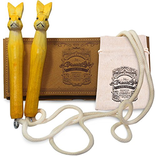 AGREATLIFE 250cm Springschnur Kinder *Leicht Verstellbar* - Handverzierte Häßchen - Springseil für Kinder - Schenken Sie EIN Stück Kindheit - 100% Baumwolle - Seilhüpfen, Seilspringen