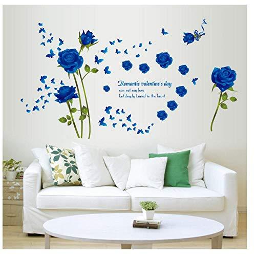 MINGKK - Adhesivo decorativo para pared con diseño de flores rosas desmontables, para salón, dormitorio, cocina, ventana, cuarto de baño, azulejos, adhesivo para pared