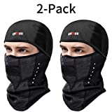 KINGBIKE Balaclava Ski Mask Motorcycle Running Full Face Cover Black (Black(2pack))