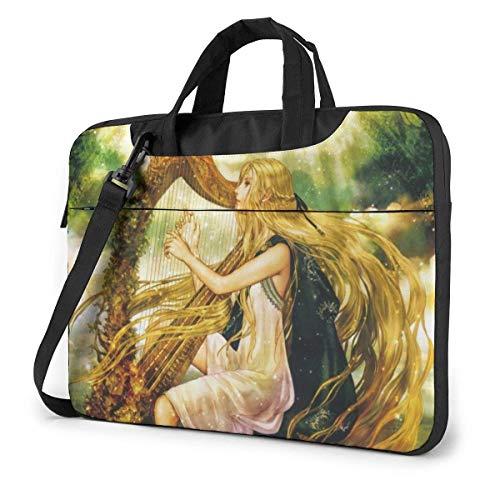 15.6 inch Laptop Shoulder Briefcase Messenger Harp Girl with Long Hair Tablet Bussiness Carrying Handbag Case Sleeve
