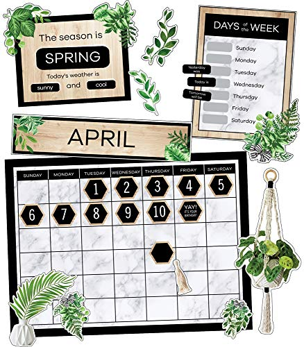 Schoolgirl Style Simply Boho Greenery Calendar Set—Calendar With Plant Accents, Monthly Headers, Days of the Week, Numbers, Birthdays, Seasons, Weather Bulletin Board Décor (85 pc)