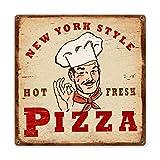 HONGXIN Cartel de metal para pared, diseño retro de pizza de Nueva York, para decoración de bar, cafetería, garaje, hotel, oficina, dormitorio