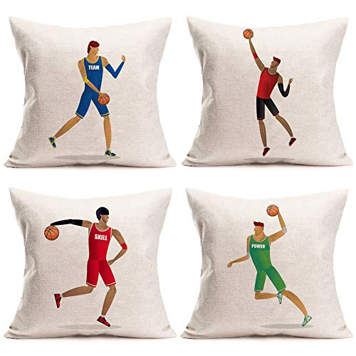 Doitely Set of 4 Sports Throw Pillow Covers Cushion Cover Players Play Basketball Theme Decorative for Men Boys Basketball Player Gift Cotton Linen Square Accent Pillow Cases, 18' X 18'