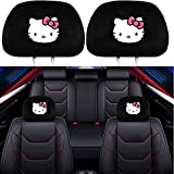 daodi 2 Pack Headrest Covers for Hello Kitty, Soft Black Fabric Head Rest Cover Universal Fit to All Car/Truck Models