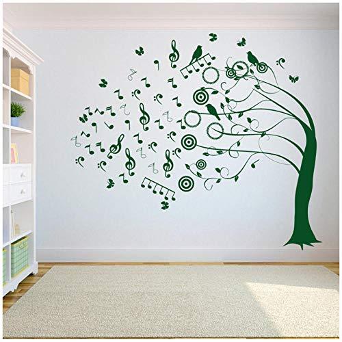 Baum Musiksymbol Wandtattoo Aufkleber Schlafzimmer Baum des Lebens Wurzeln Vogel wegfliegen Hauptdekoration Studio Dekoration 66x57cm