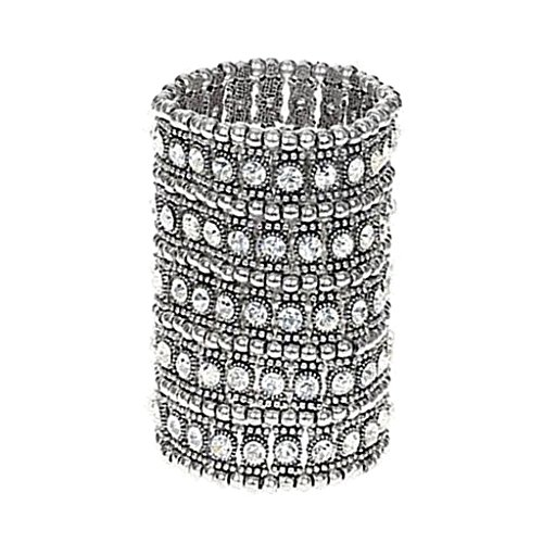 Baoblaze 5-reihige Armband breite elastische Armreif Hochzeit Armband Brautschmuck Manschette Armband - Silber Weiss