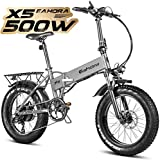 Eahora X5 20 Inch 4.0 Fat Tire Folding Electric Bike 48V 500W 10.4Ah Beach Snow Electric Bicycle Lithium Battery Ebike for Adults Smart Power Recharge System 7 Speed, Black
