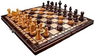Prime Chess Handgjorda schack- och damspel i körsbärsträ 35 x 35 centimeter