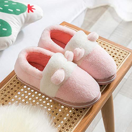 Zapatillas de felpa de invierno para adultos,Pantuflas cálido antideslizantes de fondo suave,pantuflas de piso silenciosas-pink_38-39,Zapatillas de felpa de algodón antideslizantes para interiores