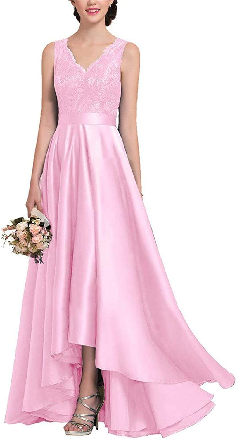 CCBubble Women High Low Lace Satin Prom Dresses V Neck Formal Evening Wedding Party Dress