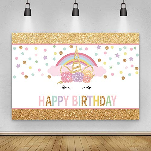 Laeacco 5x3ft Unicorn Eyelashes Background Unicorn Horn with Flowers Rainbow Colorful Dots Stars Happy Birthday Party Banner Decoration Cute Baby Girls Photos