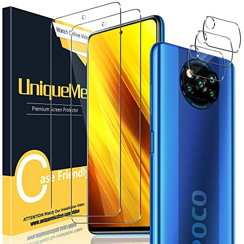 UniqueMe [2+3 Pack] Protector de Pantalla Compatible con Xiaomi Poco X3 NFC/Poco...