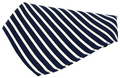 David Van Hagen Marine/mouchoir blanc à rayures en soie de