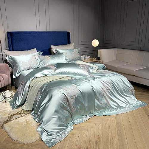 100% Silk Bedding Sets Full Cotton 4 Piece Suit Home Textile Simple Bedding Sets Duvet Cover Pillowcase Flat Sheet Adult Bed Linen Queen Soft Satin Fabric Double Queen King Duvet Sets