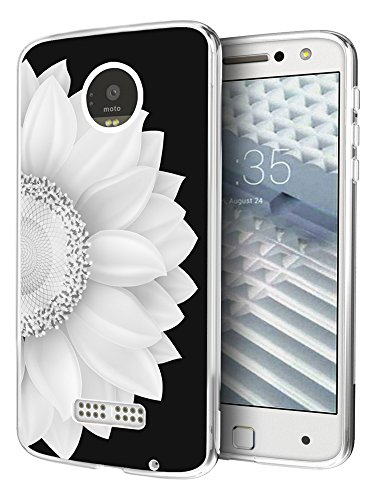 Moto Z F Case Sunflower,Gifun [Anti-Slide] and [Drop Protection] Clear Protective Case Compatible with Motorola Z Force Droid Edition -White Half Sunflower