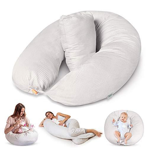 Bamibi ® Stillkissen Seitenschläferkissen Schwangerschaftskissen zum Schlafen Lagerungskissen mit Bezug aus 100% Baumwolle (Streifen)
