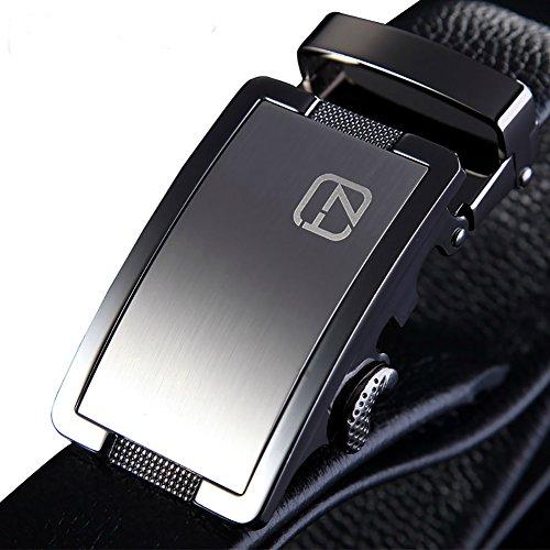 Teemzone Cintura Pelle Uomo Nero 35mm Stile di affari Automatica Fibbia Elegante (XL / EU 100)