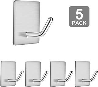 Robe Towel Hooks, SUS 304 Stainless Steel Bathroom Kitchen Hooks, Utility Heavy Duty Wall Hooks Office Hooks, Strong Adhesive Shower Hook, 3m Coat Key Hook Waterproof 5 Pack by APTGAGA