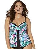 Swimsuits For All Women's Plus Size Faux Flyaway Underwire Tankini Top 24 Multi Watercolor