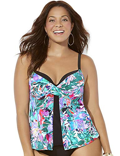 Swimsuits For All Women's Plus Size Faux Flyaway Underwire Tankini Top 24 Multi Watercolor