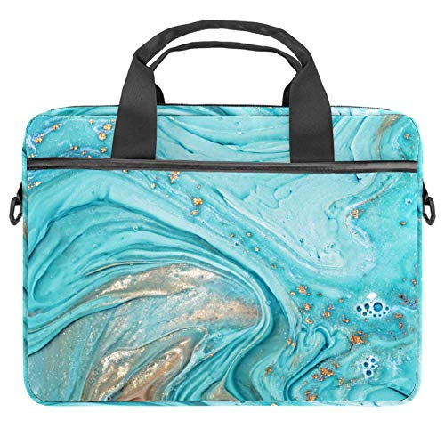 Blue Golden Abstract Laptop Tote Bag Notebook Shoulder Bag Lightweight Multi-Pocket Business Work Office Briefcase for iPad Pro/Computer/MacBook