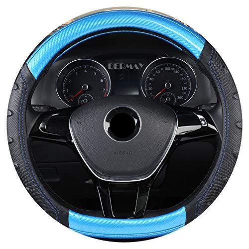 Ablaze Jin Housse de Volant de Luxe en Fibre de Carbone antidérapante Taille M pour Golf VW Polo Sagitar etc. La Plupart des Voitures, Bleu