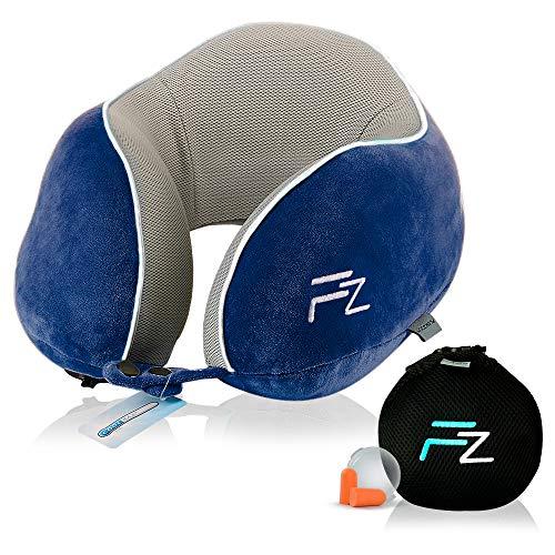 Hybrid-Nackenkissen von FLOWZOOM® | Reise-Nackenkissen aufblasbar mit Memory-Foam| Nackenhörnchen aufblasber | Aufblasbares Nackenkissen für Flugzeug, Auto und Zug - Modell Duo blau