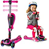 SKIDEE Scooter for Kids with Foldable and Removable Seat – Adjustable Height, 3 LED Light Wheels,...