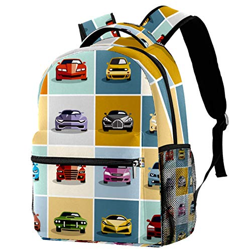 Car Icons Pattern Backpack for Teens School Book Bags Travel Casual Daypack