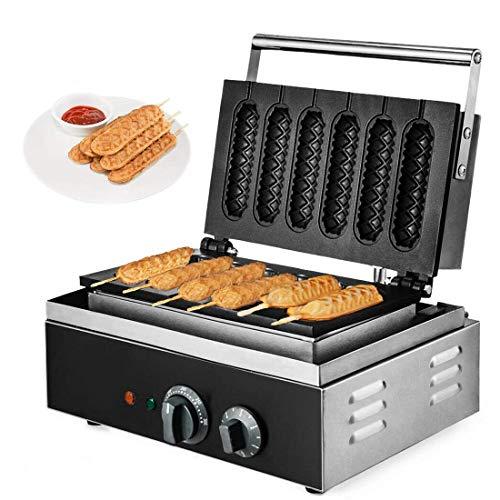 DNYSYSJ Hotdog Waffle Maker Machine Electric Corn Dog Maker 6 Slice Non-Stick Stainless Steel Waffle Baker Machine
