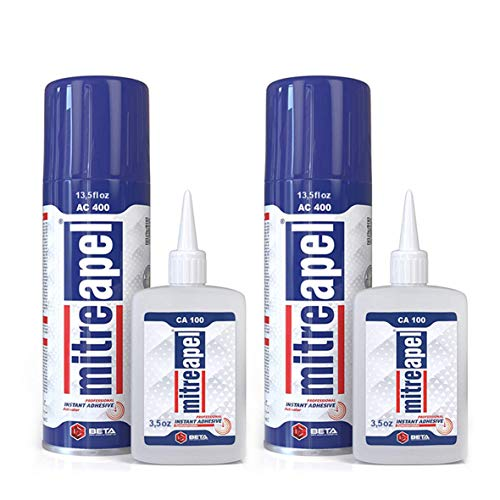 MITREAPEL Super CA Glue (2 x 3.5 oz) with Spray Adhesive Activator (2 x 13.5 fl oz) - Crazy Craft Glue for Wood, Plastic, Metal, Leather, Ceramic - Cyanoacrylate Glue for Crafting & Building (2 Pack)