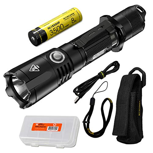 NITECORE MH25GTS 1800 Lumen USB Rechargeable Tactical Flashlight with Battery & LumenTac Battery Organizer