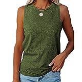 Camiseta de verano para mujer, cuello redondo, sin mangas, color sólido, casual, ajuste holgado, camisetas de invierno, camisetas de deporte, transpiración por todas partes