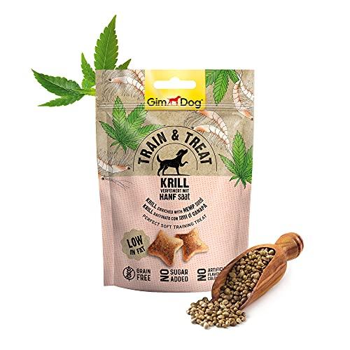 GimDog TRAIN & TREAT - Krill mit Hanf - Getreidefreie Leckerlis mit geringem Fettgehalt als idealer Trainings-Snack - 1 Beutel (1 x 125 g)