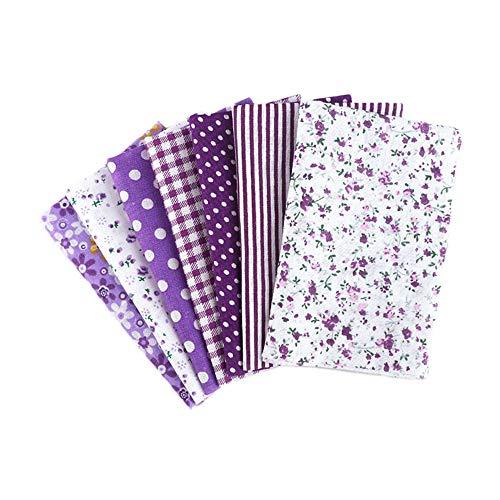 Martin Kench Stoffpaket Baumwollstoff Meterware, 7 Stück je 50 cm x 50 cm Stoffbündel für Patchwork, Stoffe zum Nähen Stoffe Paket Stoffreste DIY (Violett)