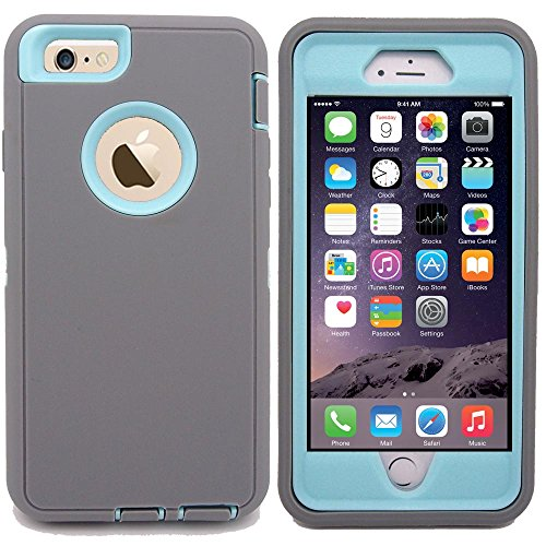 iphone 6s Protective Case, Kecko Heavy Duty Shockproof Series Tough Armor Builders Workman Hard High Impact Military Grade Hybrid Bumper Case for iPhone 6swith Screen Protector - Gray Light Blue